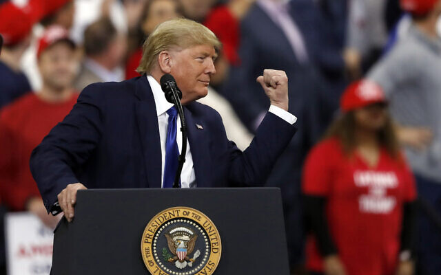 US President Donald Trump speaks at a campaign rally, January 14, 2020, in Milwaukee. (AP/Jeffrey Phelps)