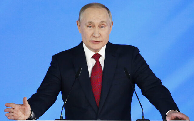 Russian President Vladimir Putin addresses the State Council in Moscow, Russia, January 15, 2020. (AP Photo/Alexander Zemlianichenko)