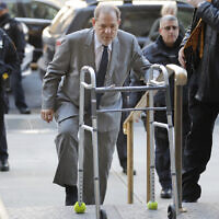 Harvey Weinstein arrives for jury selection in his trial on rape and sexual assault charges, in New York, January 15, 2020. (Seth Wenig/AP)