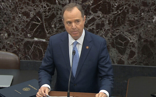 In this image from video, House impeachment manager House Intelligence Committee Chairman Adam Schiff, D-Calif., speaks during the impeachment trial against President Donald Trump begins in the Senate at the US Capitol in Washington, Thursday, Jan. 16, 2020. (Senate Television via AP)