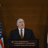 In this January 10, 2019 file photo, US Secretary of State Mike Pompeo speaks to students at the American University Cairo in the eastern suburb of New Cairo, Egypt.  (AP Photo/Andrew Caballero-Reynolds, File)