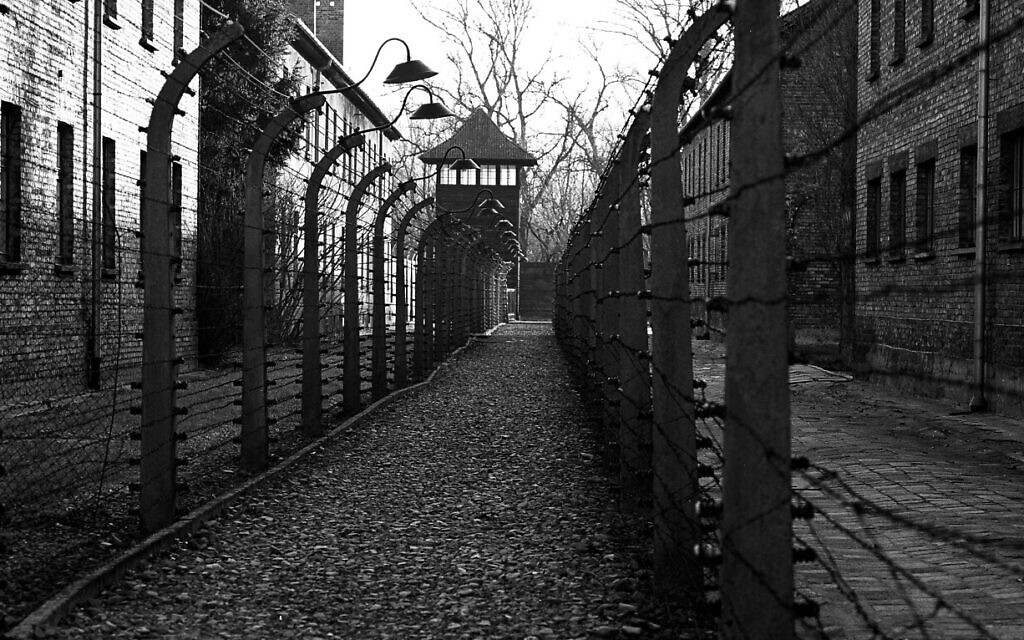 A pathway leading to an observation and security tower between what were electric barbed wire fences inside the former Nazi death camp of Auschwitz I in Oswiecim, Poland, December 8, 2019. (Markus Schreiber/AP)