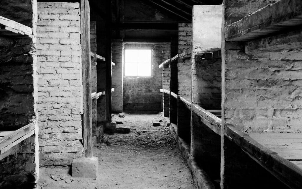 A view inside a prisoner barracks in the former Nazi death camp of Auschwitz Birkenau or Auschwitz II in Oswiecim, Poland, December 8, 2019. (Markus Schreiber/AP)