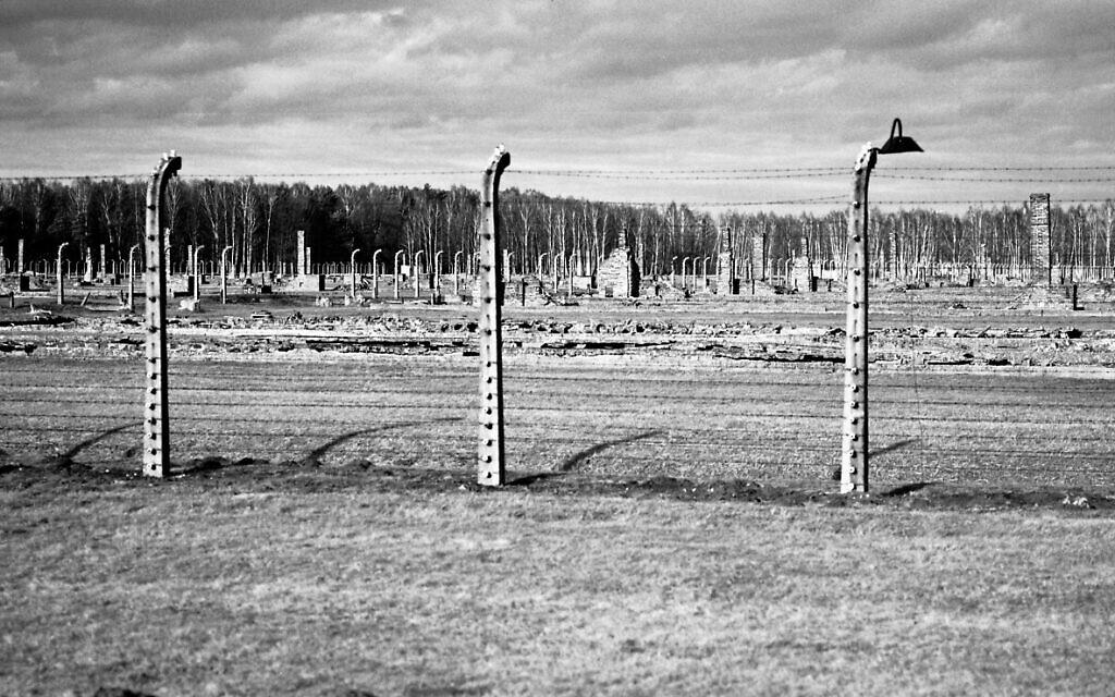 The remains of brick stone chimneys of prisoner barracks can be seen inside the former Nazi death camp of Auschwitz Birkenau or Auschwitz II. in Oswiecim, Poland, December 8, 2019. (Markus Schreiber/AP)