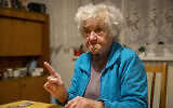 Nazi camps survivor Marija Frlan, who will turn 100 on the Holocaust Remembrance Day, talks to The Associated Press, during an interview at her home in Rakek, Slovenia, January 24, 2020. (Darko Bandic/AP)