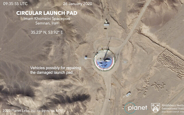 This Jan. 26, 2020, satellite image from Planet Labs Inc. that has been annotated by experts at the James Martin Center for Nonproliferation Studies at Middlebury Institute of International Studies shows preparations at a rocket launch pad at the Imam Khomeini Space Center in Iran's Semnan province. (Planet Labs Inc, Middlebury Institute of International Studies via AP)