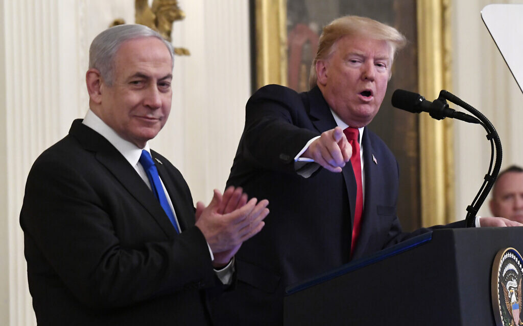 President Donald Trump speaks during an event with Israeli Prime Minister Benjamin Netanyahu in the East Room of the White House in Washington, to announce the Trump administration's much-anticipated plan to resolve the Israeli-Palestinian conflict, Tuesday, Jan. 28, 2020. (AP Photo/Susan Walsh)