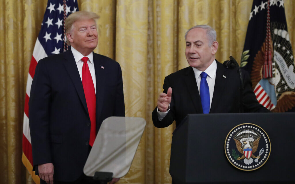 Illustrative: Prime Minister Benjamin Netanyahu speaks during an event with US President Donald Trump in the East Room of the White House in Washington, Tuesday, January 28, 2020, to announce the Trump administration's much-anticipated plan to resolve the Israeli-Palestinian conflict. (AP Photo/Alex Brandon)