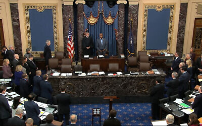 Screen capture from video the impeachment trial against US President Donald Trump in the Senate at the US Capitol in Washington, January 29, 2020. (Senate Television via AP, File)
