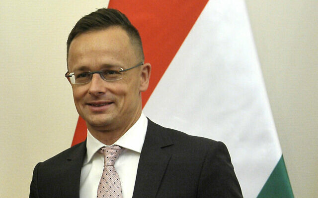 Hungarian Minister of Foreign Affairs and Trade Peter Szijjarto in his office in Budapest, Hungary, June 14, 2019. (Attila Kovacs/MTI via AP)
