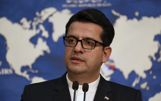 In this May 28, 2019 photo, Iran's Foreign Ministry spokesman Abbas Mousavi speaks at a press conference in Tehran, Iran (AP Photo/Vahid Salemi)