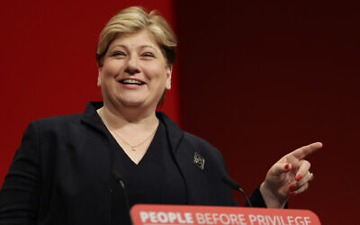 Britain's main opposition Labour Party Shadow Foreign Secretary Emily Thornberry speaks on stage during the Labour Party Conference at the Brighton Centre in Brighton, England, Monday, Sept. 23, 2019. (AP Photo/Kirsty Wigglesworth)