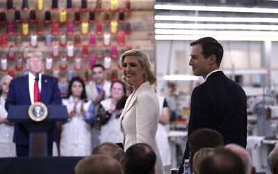 Ivanka Trump and senior adviser Jared Kushner are recognized as President Donald Trump speaks during a ribbon cutting ceremony at the Louis Vuitton Workshop Rochambeau in Alvarado, Texas, October 17, 2019. (AP Photo/Andrew Harnik)