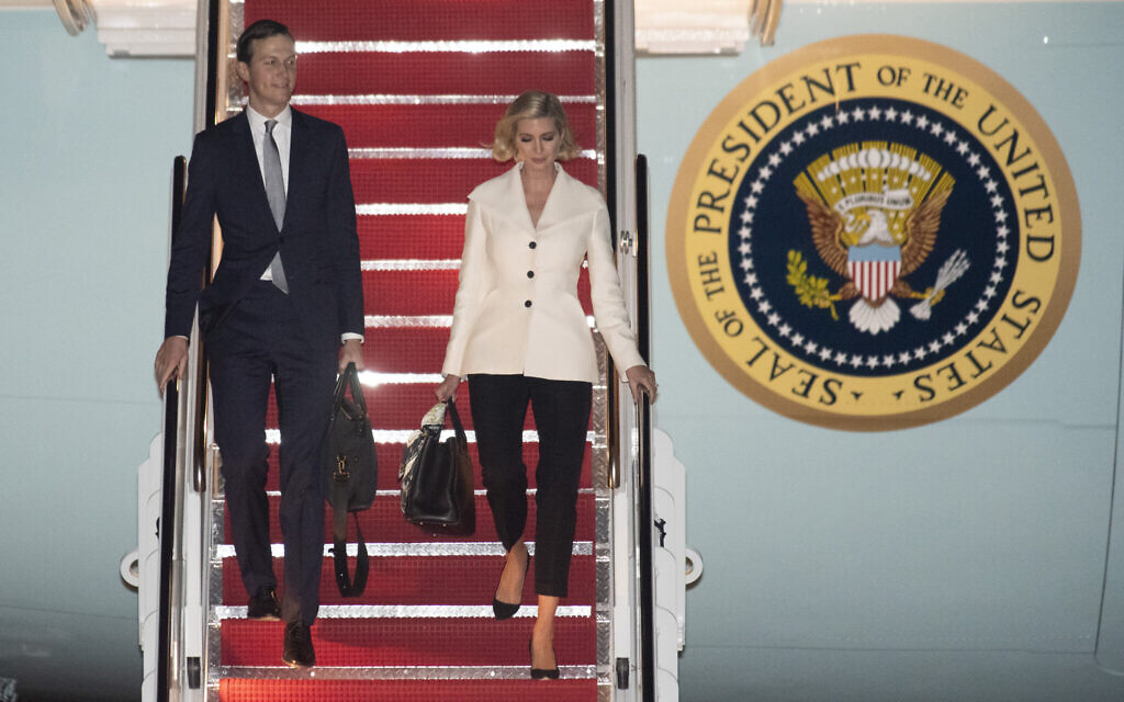 White House Senior Adviser Jared Kushner and his wife Ivanka Trump, the daughter and senior adviser to President Donald Trump, depart Air Force One, October 18, 2019, at Andrews Air Force Base, Maryland, following a trip to Texas. (AP Photo/Kevin Wolf)