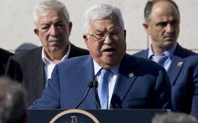 Palestinian president Mahmud Abbas gives a speech in the West Bank city of Ramallah, November 11, 2019. (Majdi Mohammed/AP)