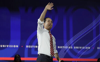 US Democratic presidential candidate Julian Castro waves during a presidential forum at the California Democratic Party's convention on November 16, 2019. (AP Photo/Chris Carlson)
