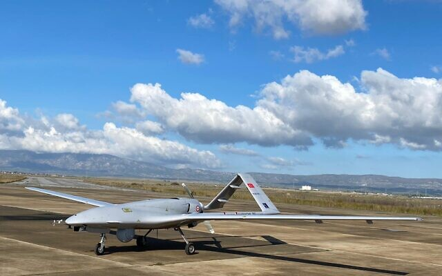 A Turkish-made Bayraktar TB2 drone is seen shortly after its landing at an airport in Gecitkala, known as Lefkoniko in Greek, in Cyprus on December 16, 2019. (DHA via AP)