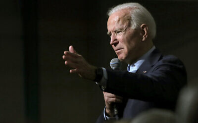 Democratic presidential candidate former Vice President Joe Biden addresses a gathering during a campaign stop in Exeter, New Hampshire, Monday, Dec. 30, 2019. (AP Photo/Charles Krupa)