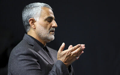In this March 27, 2015, file photo provided by an official website of the office of the Iranian supreme leader, commander of Iran's Quds Force, Qassem Soleimani prays in a religious ceremony at a mosque in the residence of Supreme Leader Ayatollah Ali Khamenei, in Tehran, Iran. (Office of the Iranian Supreme Leader via AP, File)