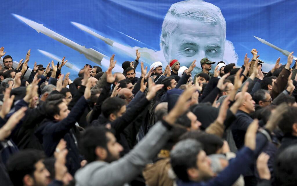 Protesters demonstrate over the US airstrike in Iraq that killed Iranian Revolutionary Guard Gen. Qassem Soleimani in Tehran, Iran, January 4, 2020. (Ebrahim Noroozi/AP)