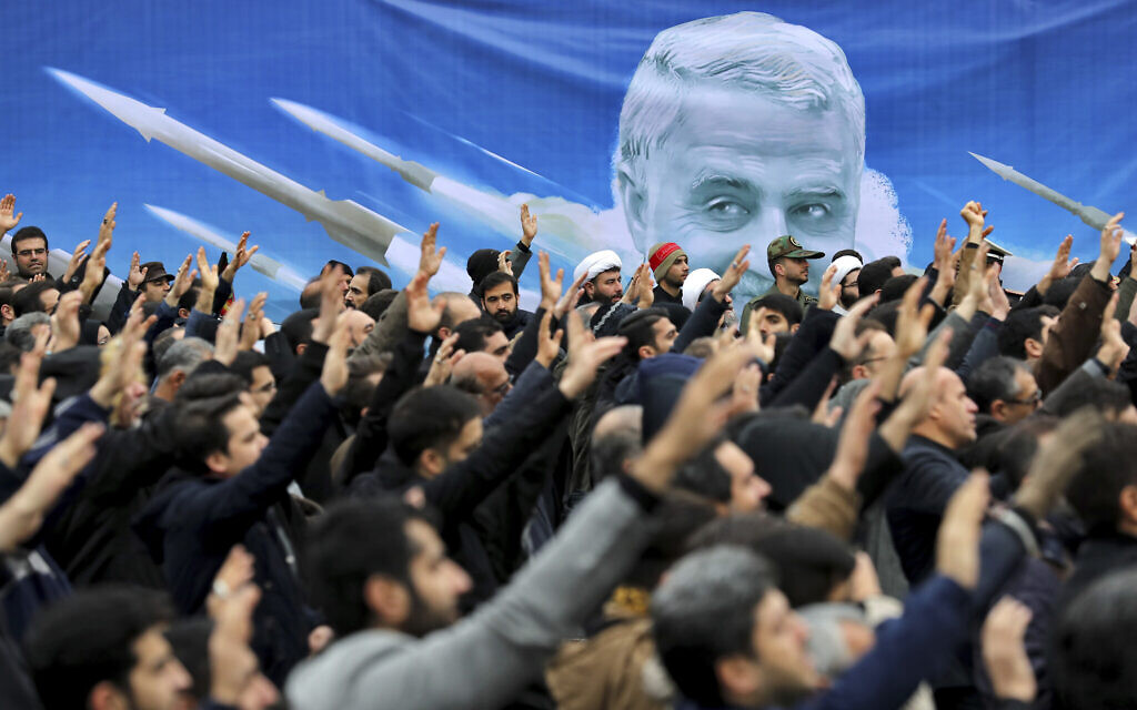 Protesters demonstrate over the US airstrike in Iraq that killed Gen. Qassem Soleimani, in Tehran, Iran, January 4, 2020. (AP Photo/Ebrahim Noroozi)