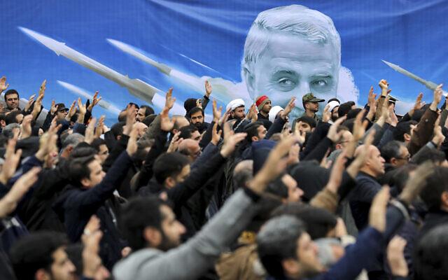 Protesters demonstrate over the US airstrike in Iraq that killed Gen. Qassem Soleimani, in Tehran, Iran, Saturday Jan. 4, 2020. (AP Photo/Ebrahim Noroozi)