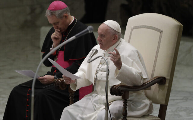 Pope Francis holds his weekly general audience at the Vatican, Jan. 8, 2020. (AP Photo/Gregorio Borgia)