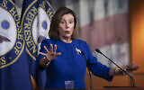 US House Speaker Nancy Pelosi speaks with reporters following an escalation of tensions between the United States and Iran, January 9, 2020, on Capitol Hill in Washington. (AP/J. Scott Applewhite)