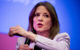 Marianne Williamson speaks at a the Faith, Politics and the Common Good Forum at Franklin Jr. High School, January 9, 2020, in Des Moines, Iowa. (AP Photo/Andrew Harnik)