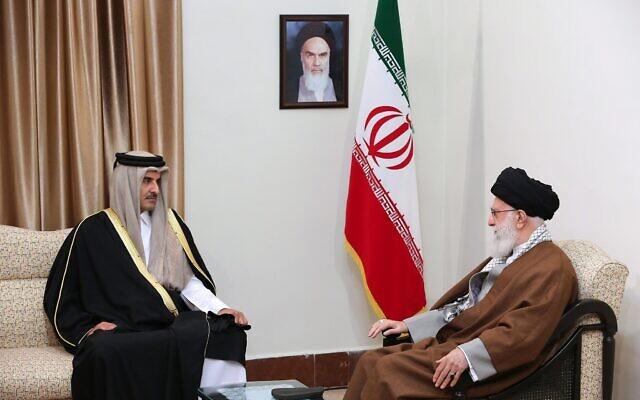 Iranian Supreme Leader Ayatollah Ali Khamenei, right, meets Emir of Qatar Sheikh Tamim bin Hamad Al Thani, in Tehran, Iran, January 12, 2020. (Office of the Iranian Supreme Leader via AP)