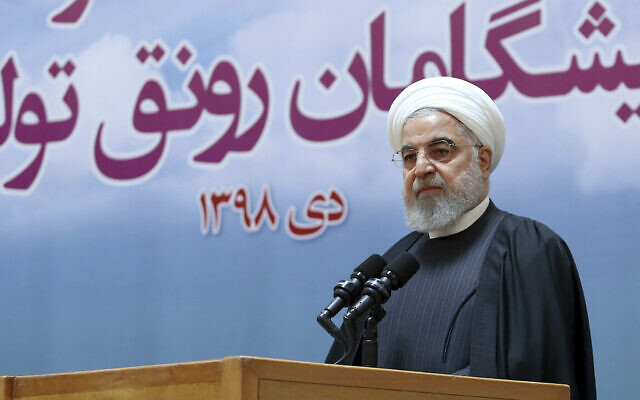Iranian President Hassan Rouhani in Tehran, Iran, January 14, 2020. (Iranian Presidency Office via AP)