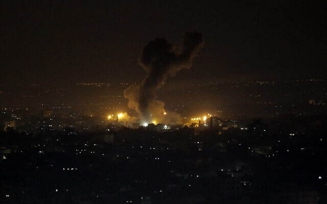 An explosion caused by Israeli airstrikes is seen on Gaza City, Wednesday, Jan. 15, 2020. (AP/Adel Hana)