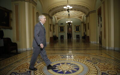 Senate Majority Leader Mitch McConnell, Republican-Kentucky, leaves the Senate chamber following impeachment proceedings, at the Capitol in Washington, January 16, 2020. (AP/Matt Rourke)