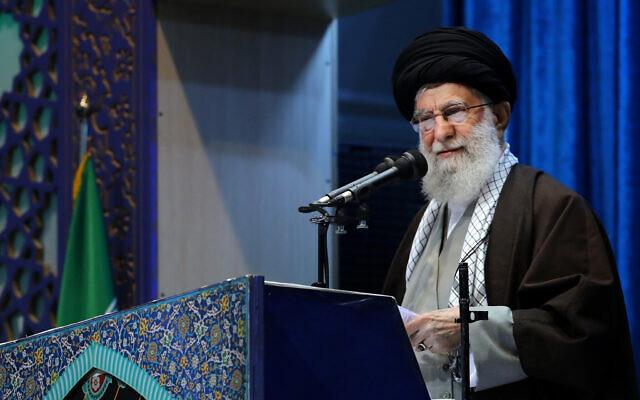 Supreme Leader Ayatollah Ali Khamenei delivers his sermon in the Friday prayers at Imam Khomeini Grand Mosque in Tehran, Iran, January 17, 2020. (Office of the Iranian Supreme Leader via AP)
