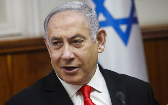 Prime Minister Benjamin Netanyahu at the weekly cabinet meeting at the Prime Minister's office in Jerusalem, January 19, 2020. (AP Photo/Gil Cohen-Magen, Pool)