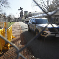 Fencing and magnetometers are set up around Capitol Square for the anticipated pro-gun rally Sunday, January 19, 2020, in Richmond, Virginia. (AP/Steve Helber)