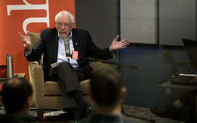 Democratic presidential candidate Sen. Bernie Sanders, I-Vt., speaks during a forum broadcast on radio in a New Hampshire Public Radio station, Sunday, January 19, 2020, in Concord, N.H. (AP/Steven Senne)