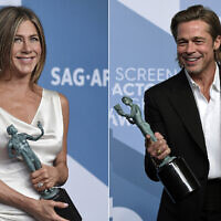This combination photo shows Jennifer Aniston with the award for outstanding performance by a female actor in a drama series for 'The Morning Show,' left, and Brad Pitt with the award for outstanding performance by a male actor in a supporting role for 'Once Upon a Time in Hollywood' at the 26th annual Screen Actors Guild Awards at the Shrine Auditorium and Expo Hall on Jan. 19, 2020, in Los Angeles. (Jordan Strauss/Invision/AP)