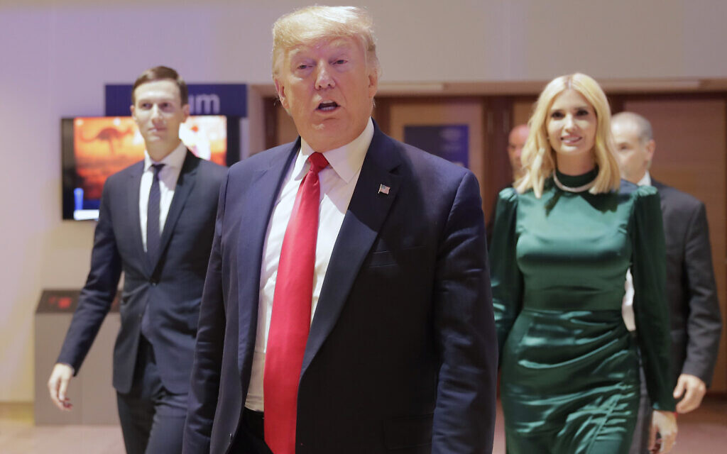 US President Donald Trump, Ivanka Trump and Jared Kushner, left, leave after attending a session at the World Economic Forum in Davos, Switzerland, January 21, 2020. (AP Photo/Markus Schreiber)