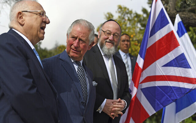 Britain's Prince Charles, center, meets with President Reuven Rivlin, left, and Chief Rabbi Ephraim Mirvis at his official residence in Jerusalem, Jan. 23, 2020 (Victoria Jones/Pool via AP)