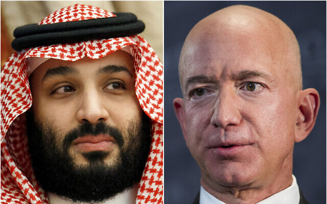 This combination of photos shows Saudi Arabia's Crown Prince Mohammed bin Salman in Jeddah, Saudi Arabia, on June 24, 2019 and Jeff Bezos, Amazon founder and CEO, in Washington, on Sept. 13, 2018 (AP Photo)