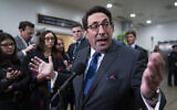 Speaking to reporters, Jay Sekulow, President Donald Trump's personal lawyer, attacks the Democrat's arguments in the impeachment trial of the president on charges of abuse of power and obstruction of Congress, in Washington, Friday, Jan. 24, 2020. (AP Photo/J. Scott Applewhite)