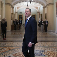 House Democratic impeachment manager, House Intelligence Committee Chairman Adam Schiff, Democrat-California, arrives at the Senate as work resumes in the impeachment trial of US President Donald Trump at the Capitol in Washington, January 25, 2020. (J. Scott Applewhite/AP)
