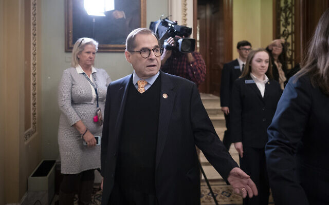 House Judiciary Committee Chairman Jerrold Nadler arrives at the Senate as work resumes in the impeachment trial of President Donald Trump on charges of abuse of power and obstruction of Congress, at the Capitol in Washington, on January 25, 2020. (AP Photo/J. Scott Applewhite)
