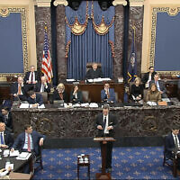 In this image from video, White House deputy counsel Patrick Philbin speaks during the impeachment trial against Trump in the Senate at the U.S. Capitol in Washington, Saturday, January 25, 2020. (Senate Television via AP)