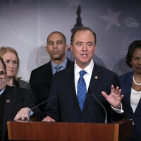 House Democratic impeachment managers, from left, House Judiciary Committee Chairman Jerrold Nadler, D-N.Y., Rep. Sylvia Garcia, D-Texas, Rep. Hakeem Jeffries, D-N.Y., House Intelligence Committee Chairman Adam Schiff, D-Calif., and Rep. Val Demings, D-Fla., speak at the Capitol in Washington, to discuss the impeachment trial of President Donald Trump on charges of abuse of power and obstruction of Congress, Saturday, Jan. 25, 2020. (AP Photo/J. Scott Applewhite)