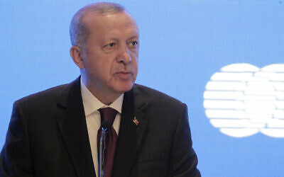 Turkish President Recep Tayyip Erdogan attends a press conference after his talks with Algerian President Abdelmadjid Tebboune, in Algiers, January 26, 2020. (Fateh Guidoum/AP)