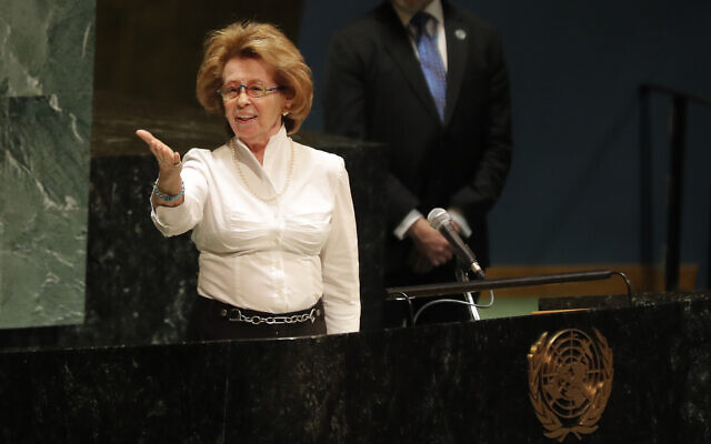 Holocaust survivor Irene Shashar acknowledges applause after speaking during a Holocaust memorial event at U.N. headquarters, Monday, January 27, 2020. (AP Photo/Seth Wenig)
