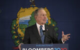 Democratic presidential candidate former New York City Mayor Michael Bloomberg speaks during a campaign event, Jan. 27, 2020, in Burlington, Vt. (AP Photo/Mary Altaffer)