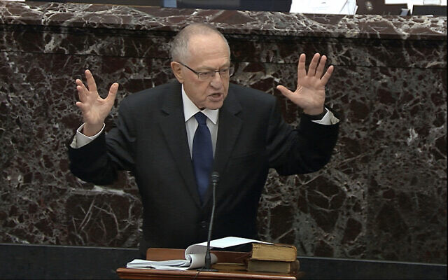 In this image from video, Alan Dershowitz, an attorney for President Donald Trump, speaks during the impeachment trial against Trump in the Senate at the US Capitol in Washington on January 27, 2020. (Senate Television via AP)